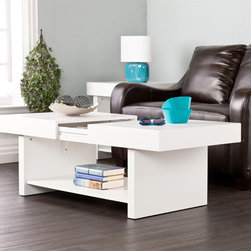 Holly & Martin - Holly & Martin Glidick White Slide-Top Cocktail/ Coffee Table - Function has fun with this modern,white cocktail table. The Glidick tables make room for the good stuff... and tuck away the rest.