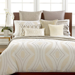 Hotel Collection Bedding, Finest Venetian Collection - A radiant makeover! The Hotel Collection Finest Venetian Collection captures the essence of sophisticated, modern style with an intriguing blend of gold colored patterns, shimmery, beaded & sequin accents.