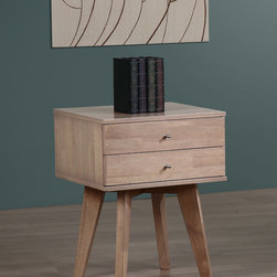 None - Jones Birch Nightstand - Add mid-century modern style to your bedroom with this unique Jones nightstand. Finished in an understated dark blonde,this nightstand features two small drawers for storing your bedside reading material and other personal items.