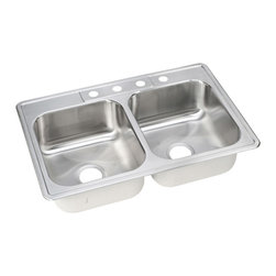 """Dayton - Elkay DSE233225  Dayton Elite Two-Bowl Sink - Elkay's DSE233225 is a Dayton Elite Two-Bowl Sink. This Dayton Elite sink is constructed of seamlessly formed 20-gauge type 301 nickel-bearing stainless steel, and can be mounted on almost any surface. This sink features a 3-1/2"""" drain opening and an 8-1/16"""" bowl depths."""