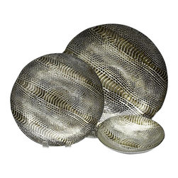 belle & June - Silver Gold Snakeskin Salad/Desert Plate-Set of 4 - Beautiful, deep rich tones and textures of the snakeskin salad/dessert plates and canape plates make this collection breath taking! Whether your look is tribal or contemporary, the deep tones and textures of these decorative plates are magnificent.