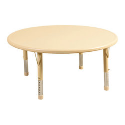 """Ecr4kids - Ecr4Kids Kids Playroom Classroom 45"""" Round Resin Table Blue - Tabletop made of fade-resistant Polyethylene that will not crack, chip or peel. reinforced steel frame. Legs adjust in 1"""" increments from 13.25"""" to 22.25"""". Choose from one of our Soft Tone Colors.Easy to clean surface, use a damp cloth or sponge using warm water & mild soap. Wipe dry. Use only a non-abrasive general purpose cleanser. Abrasive or alcohol based cleansers will mark/stain the table surface. Style Notes: Cornflower Blue (BL)"""