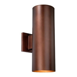 """Vaxcel - Chiasso Outdoor Wall Lantern - Features: -Two light outdoor wall lantern. -Chiasso collection. -Available in bronze, satin aluminum and textured black finish. -Clear glass panel shade. -Listed for wet locations. Specifications: -Accommodates (2) 60W medium base bulbs. -Overall dimensions: 14.25"""" H X 5"""" W X 8"""" D."""