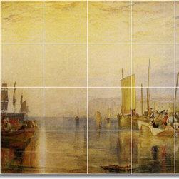 Picture-Tiles, LLC - Sunrise. Whiting Fishing At Margate Tile Mural By Joseph Turner - * MURAL SIZE: 48x72 inch tile mural using (24) 12x12 ceramic tiles-satin finish.