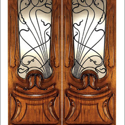 Art Nouveau Entry Doors Model # AN-2014 - Art Nouveau is an art, style, and architecture recognized around the globe.  This door and collection will set you apart from the rest while giving your home a very unique look.  These doors have fine carvings, iron work and most have a operable glass panel to facilitated the cleaning of the iron panel.  Look at the entire collection to find the right fit!