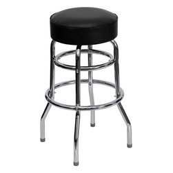 Flash Furniture - Double Ring Chrome Bar Stool with Black Vinyl Swivel Seat - Need a durable and classic bar stool? This commercial-grade metal bar stool can stand up (or sit down) to the challenge and has a comfortable and easy-to-clean upholstered vinyl seat. The tubular foot rest supports your feet and reinforces the legs of the stool.