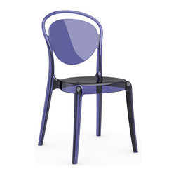Calligaris - Parisienne Chair, Set of 2, Transparent Aubergine Purple - A mere whisper, a shadow, a ghost of a chair — this piece floats in a space like a divine entity. Each transparent color glows with its own mood — get them all and let them speak for themselves.