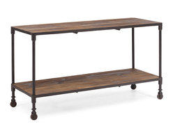 Zuo Modern - Mission Bay Wide 2 Level Shelf - Our distressed table pairs the warmth of reclaimed elm with warm, aged metal frames for an industrial, imperfect look.