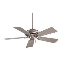 Minka Aire - Supra 44 Ceiling Fan - Supra 44 inch Ceiling Fan comes with Oil Rubbed Bronze finish with Maple blades, Brushed Steel finish with Silver blades, White with White blades, or Brushed Steel with Walnut blades. Supra has a 188mm x 15mm motor, 44 inch blade span and 14 degree blade pitch. Features a three speed pull chain. Manual reverse switch is located on the motor. One 3.5 inch and one 6 inch down rods are included. UL listed. 44 inch width x 12.5 inch height.