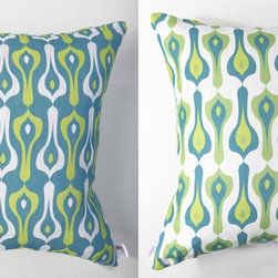 Kaypee Soh - Bacal Pillow - Aqua - Bacall - Modern, sophisticated and Moroccan inspired, the Bacall is as timeless as its muse, the iconic Casablanca. Pair it with our Ziggy pattern and you've got your own Bogie and Bacall!�100% LinenHidden red zipper closureFeather/down hypoallergenic insertHandmade in USA�