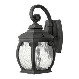 Hinkley Lighting - Forum Small Wall Outdoor Lantern - Forum's distinguished silhouette features cast aluminum construction in a Museum Black finish with decorative cast detailing and generous panels of water seedy glass.