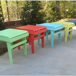 Weathercraft Designer's Choice Painted Side Table - Additional Features Rounded table top in traditional Adirondack styleHot-dipped galvanized hardware for weather-resistanceFeatures rust-resistant stainless steel nails With an interesting combination of down-home country style and a modern designer touch the Pine Side Table is available in a huge array of bright eye-catching colors. Constructed of high-quality #1 grade Southern Yellow Pine this table is protected by environmentally- and family-friendly pressure-treated preservatives that give it a lifetime of weather resistance. All nuts bolts and screws have a hot-dipped galvanized coating and all nails are stainless steel for additional protection against the elements.About WeatherCraft Outdoor Furniture Inc.Just two people started WeatherCraft Furniture in 1988 but out of their small North Carolina garage grew a flourishing outdoor furniture business that today fills an 8 000-square-foot manufacturing plant. Customer service and satisfaction are WeatherCraft's focus evident in the high-quality materials and careful construction used to create the company's signature Adirondack chairs. The lumber used is kiln-dried reducing instances of cracking and making it ideal for natural weathering or painting.