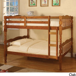 None - Catalina Twin Over Twin Bunk Bed with Trundle - Catalina twin bunk bed has two different finishes: Oak and Cherry.For the more classic home,this twin over twin bunk bed has a fixed ladder for safety,bold turned leg design. Mattresses are not included.