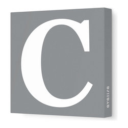 """Avalisa - Letter - Upper Case 'C' Stretched Wall Art, Gray, 12"""" x 12"""" - Spell it out loud. These uppercase letters on stretched canvas would look wonderful in a nursery touting your little one's name, but don't stop there; they could work most anywhere in the home you'd like to add some playful text to the walls. Mix and match colors for a truly fun feel or stick to one color for a more uniform look."""