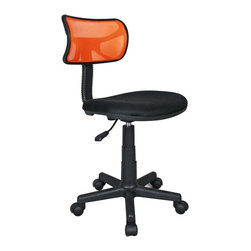 """Techni Mobili - Techni Mobili Mesh Task Chair in Orange - Mesh Task Chair in Orange by Techni Mobli The Techni Mobili Mesh Task Chair is a fun, lightweight office chair that features breathable mesh back support, a contoured fabric seat cushion, and a pneumatic seat height adjustment lever that provides a 3 inch range in seat height from 15.5"""" to 18.5"""". The durable design includes a heavy-duty plastic shell back, a 5-star nylon base provide, and dual wheel non-marking casters for durable, stable mobility. COLOR: Orange.  Office Chair (1)"""