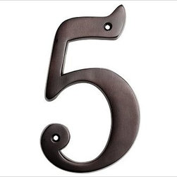 "Stella House Number, 5, Bronze finish - These beautifully crafted numbers add a warm, polished accent that coordinates perfectly with our Stella Door Knocker and Mail Slot. 0: 4"" wide x 5"" high 1: 2"" wide x 5"" high 2: 3"" wide x 5"" high 3: 3"" wide x 5"" high 4: 3.5"" wide x 5"" high 5: 3"" wide x 5"" high 6: 3"" wide x 5"" high 7: 3"" wide x 5"" high 8: 3"" wide x 5"" high 9: 3"" wide x 5"" high Made of brass, stainless steel and zinc with an antique silver, vintage brass or bronze finish. Sealed with lacquer. Internet only."