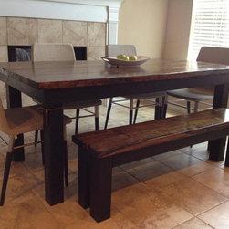 "6' Contemporary Farmhouse Table - 6' x 37"" x 30"" Farmhouse table in Dark Walnut and Black finish."