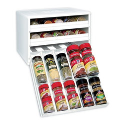 YouCopia Chef's Edition SpiceStack 30-Bottle Spice Organizer, White - Hunting around your cabinet for a specific spice can be frustrating. This pull-out and drop-down spice rack enables you to easily access 30 full-size or 60 half-size spice bottles.