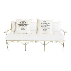Pre-owned Indoor/Outdoor Gold  Settee with Sunbrella Canvas - Beautiful vintage gold metal indoor/outdoor settee with Sunbrella canvas. Two reversible pillows, one side with French lettering on canvas and black patent leather on other, accented with gold piping. Soft and lovely and fit for springtime!