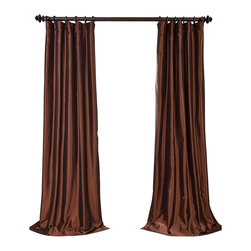 """Exclusive Fabrics & Furnishings - Copper Brown Blackout Faux Silk Taffeta Curtain - SOLD PER PANEL . 56% Nylon 44% Polyester .Blackout Curtain - Lined (ivory color) & Interlined (black cotton flannel) . 3"""" Pole Pocket with Hook Belt .Dry Clean Only ."""