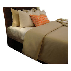 Ryan Duvet Set, Ultra King - Tan Sand linen like solid combines with Cream and accented with a bright Pumpkin Orange abstract print. Pillows are all reversible to give you unlimited options.