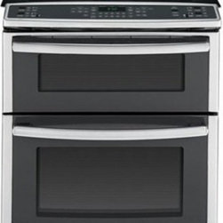 "GE Profile - PS950SFSS 30"" 6.6 cu. ft. Capacity Slide-In Double Oven Electric Range With True - The GE PS950SFSS 30 in 66 Cu Ft electric slide-in range with convection lower oven and dual self cleaning ovens in stainless steel features digital temperature display along with electronic up front touch pads A dual choice burner with 8 in and 5 in ..."