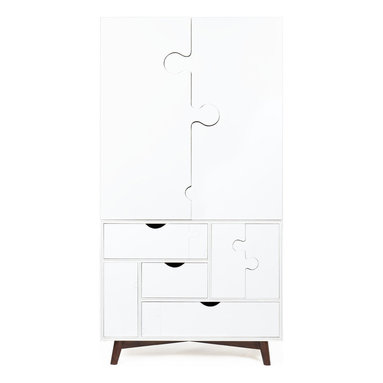 Seed Furniture - The Jigsaw Armoire (White) - This wonderful children's piece starts off as a small bureau -- enabling your little ones to access and see inside the two drawers. As your children grow in size, and their wardrobe expands accordingly, you can slide off the top of the bureau and attach the armoire. Affix the bureau top conveniently to the back for storage. Complete with three secret doors, this bureau/armoire combination pleases children to no end. Set it up, store their clothes, and watch them play.