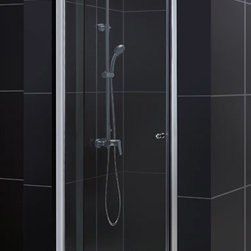 """Dreamline - Allure Frameless Pivot Shower Door, Clear 3/8"""" Glass Door - The Allure pivot shower door will give any bathroom a fresh perspective with clean lines and a flexible installation. A frameless design and premium 3/8 in. thick tempered glass deliver the look and feel of custom glass at an excellent value."""