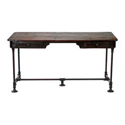 Bettendorf Desk - Calling all you captains of industry. Whether you're looking for a place to crunch tax numbers, or a place to peck out your detective novel on a vintage Underwood, this industrial desk is hardworking and handsome. It's crafted of dark iron with an aged wood top and two deep drawers.