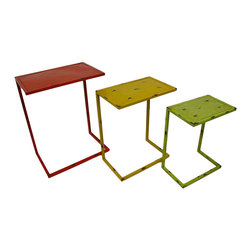 Set of 3 Distressed Finish Marrakesh Pattern Top Metal Nesting Side Tables - Perfect for the patio, porch, pool or indoors, this set of metal nesting tables adds a colorful accent and feature a Marrakesh pattern top. They're great for displaying plants and statues, or for use next to your favorite chair to hold drinks, snacks and your favorite book. You can arrange the tables in a variety of ways, making an attractive display in any room, and each rectangular table boasts a distressed enamel finish. The red largest table measures 23.5 X 18.5 X 11.5 inches, the yellow medium table is 20.5 X 16 X 10 inches and the smallest green table stands 18 X 13.5 X 8.5 inches. This set makes a fun housewarming gift that's sure to be appreciated!