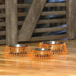 Castro Orange Collection for Obelisk Home - Influenced by Mid-Century Modern design, the Castro Dish blends beautifully into any modern decor. Constructed of steel wire, the orange powder coated finish makes it perfect for indoor or protected outdoor living spaces. Starting at $20