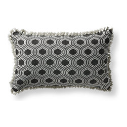 Frontgate - Ogee Echo Black Outdoor Lumbar Pillow - Beautiful accent pillow can be used both indoor and outdoor. 100% Sunbrella solution-dyed acrylic woven fabric. High-density polyester fill. Zipper closure. Spot clean with mild natural soap and water; air-dry only. Dress your modern outdoor space with our Sunbrella Ogee Echo Lumbar Outdoor Pillow. Shades of soft grays, pewter and black create a modern swooping design. The Sunbrella fabric is woven, not printed, to retain its luster and pattern season after season.  .  .  .  .  . Trimmed with Pewter eyelash fringe . Made in the USA.