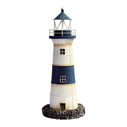 "Decorative Rustic Blue & White Tin Lighthouse Candle Holder - The decorative rustic blue  white tin lighthouse candle holder measures 7"" x 17.5""H. This item opens near the base to insert a candle. It will add a definite nautical touch to whatever room it is placed in and is a must have for those who appreciate high quality nautical decor. It makes a great gift, impressive decoration  will be admired by all those who love the sea."