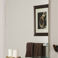 None - Columbus Frameless Wall Mirror - A frameless style and traditional shape highlight this wall mirror. This mirror also features a shelf, perfect for a bathroom or hallway.