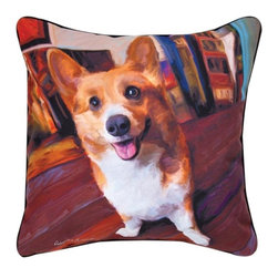 """Manual - Pair of """"Get Low"""" Welsh Corgi Dog Print Throw Pillows 18 Inch - This pair of 18 inch by 18 inch printed fabric throw pillows adds a wonderful accent to the home of any dog lover. The pillows feature a Welsh Corgi dog print called """"Get Low"""" by artist Robert McClintock on the front, and the back is solid black. They have 100% polyester stuffing. These pillows are crafted with pride in the Blue Ridge Mountains of North Carolina, and add a quality accent to your home."""