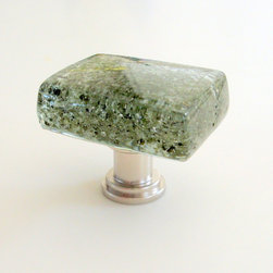 "Fused Glass Forest Cabinet Pull Knob Hardware - Irregularly shaped Fused Glass Cabinet Knobs will add a wonderful focal point to cabinets and furniture! Each knob is made from an irregularly cut hand crafted fused glass glossy tile approximately 1 1/4"" by 1 1/4"" and 3/8"" thick, (some are slightly more rectangular, up to 1 1/4"" by 1 1/2""). The tile is permanently affixed to cabinet hardware which has a satin nickel finish, and includes a standard 8-32 threaded 1"" screw. All edges are polished, while the back has a roughened surface that is generally not visible when the knob is installed. Each piece is unique."