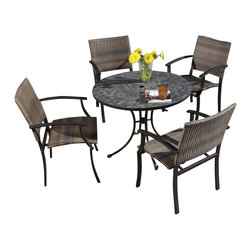 HomeStyles - 5-Pc Dining Table Set - Includes dining table and four arm chairs. Round slate tile table top. Table top with center opening for an umbrella. Hole can be closed with the black cap. Cabriole designed base constructed of powder coated steel in black finish. Adjustable nylon glides prevent damage to surfaces and provide stability on uneven surfaces. Chair with two-tone walnut brown synthetic-weave seat and back. Powder coated steel frame in black finish. Tie-attachment taupe cushions. Synthetic-weave both moisture and weather resistant. Requires very little maintenance. Designed to stack for easy storage. Made from tile and steel. Slate color. Made in Vietnam. Seat height: 18 in.. Arm height: 26.25 in.. Chair: 24.5 in. W x 24.25 in. D x 30 in. H. Table: 39.5 in. Dia. x 30 in. H. Warranty. Table assembly instructions. Chair assembly instructions