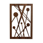 """Frederick Arndt Artworks - Five Disks in Space Fretwork - This is a wonderful mid-century modern inspired fretwork made from Black Walnut hardwood. It measures 14.5"""" high x 9.5"""" wide x 1/2"""" thick. It comes with a wall hanging bracket already attached. It has been clear coated to ensure a long lasting quality finish. This piece would make a great addition to any modern home. This item is made-to-order, and as such, it is subject to lead times of 4-7 weeks."""