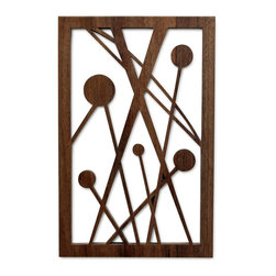 "Frederick Arndt Artworks - Five Disks in Space Fretwork - This is a wonderful mid-century modern inspired fretwork made from Black Walnut hardwood. It measures 14.5"" high x 9.5"" wide x 1/2"" thick. It comes with a wall hanging bracket already attached. It has been clear coated to ensure a long lasting quality finish. This piece would make a great addition to any modern home. This item is made-to-order, and as such, it is subject to lead times of 4-7 weeks."