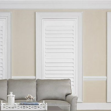 Shutters- 3 Day Blinds- Living Room - Shutters from 3 Day Blinds come in polymer and wood that won't crack, fade or peel over time. Shutters are energy efficient and provide excellent insultion between your windows and your homes interior. Shutters are often called, Plantatin Shutters and come in white, black and a variety of wood blends and stained finishes.