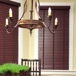 """M&B Plantation 2-1/2"""" Composite Faux Wood Blinds - Faux wood blinds are a fashionable, yet economical alternative to wood blinds. Their durable material won't scratch, chip, or fade and as such they're great for high moisture areas including kitchens, bathrooms, saunas and are excellent choice for humid climates. Best of all, they're easy-to-clean and maintain."""