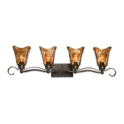 Carolyn Kinder - Carolyn Kinder Vetraio Traditional Vanity / Bathroom Light X-54822 - Heavy hand made glass is held in classic European iron works giving these pieces a contemporary quality, with strong traditional appeal as well.