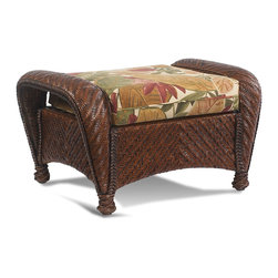 Wicker Paradise - Wicker Rattan Ottoman - Casablanca - Wicker rattan ottoman is made of Premium quality herringbone woven wicker on a sturdy rattan and wood frame. Features bottom cushion in your choice of fabric with comfort decking.