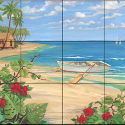 The Tile Mural Store (USA) - Tile Mural - Pb - Plantation Key - Rowboat - Kitchen Backsplash Ideas - This beautiful artwork by Paul Brent has been digitally reproduced for tiles and depicts a boat parked at the beach.  Beach scene tile murals are great as part of your kitchen backsplash tile project or your tub and shower surround bathroom tile project. Waterview images on tiles such as tiles with beach scenes and sunset scenes on tiles.  Tropical tile scenes add a unique element to your tiling project and are a great kitchen backsplash  or bathroom idea. Use one or two of our beach scene tile murals for a wall tile project in any room in your home for your wall tile project.