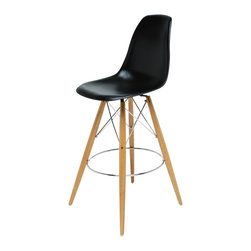Kathy Kuo Home - Eiffel Reproduction Black Plastic Oak Wood Modern Bar Stool - Pair - Join the party with this pair of eye-catching oak bar stools. Mixing modern with Industrial, this stylish set has highly polished black plastic seats, oak legs and chromed steel support rods. Slim, yet sturdy, these Eiffel-inspired stools serve up casual comfort anytime of day.