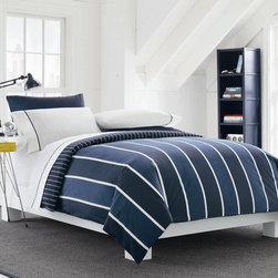 Nautica Home - Knots Bay Comforter Set - Features: -Twin / Twin Extra Long size includes comforter, flat sheet, fitted sheet and 1 pillowcase. -Full, Queen and King sizes includes comforter, flat sheet, fitted sheet and set of pillowcases. -Sheets 100% Cotton. -Enjoy the crisp cool cotton stripes. -Nautica woven label on right side of comforter. -Sheets have elastic on all sizes for better fit. -Twin also fits twin extra long mattress.
