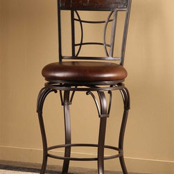 Hillsdale Furniture - Swivel Stool (30 in. Bar Height) - Choose Size: 30 in. Bar HeightRectangular, bamboo-inspired back.Elegant metal arches.Dark chestnut finishAntique russet vinyl seat cover. 18 in. W x 22 in. D x 42 in. H (23 lbs.)Multifaceted with an artistic flourish, the Granada Stool is distinguished in its rectangular, bamboo-inspired chair back and elegant metal arches. Featuring a dark chestnut finish and an antique russet vinyl seat cover, the Granada features a 360 degree swivel stool.
