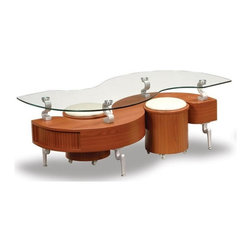Global Furniture - 3 Pc Cherry Finish Cocktail Table and Stools - Includes table top, base and stools. Contemporary design. Curved glass top. Stools with white upholstered cushion. Made from glass and metal. Constructed with MDF. Glass Top: 54 in. W x 28 in. D x 2 in. H (42 lbs.). Base: 49 in. W x 21 in. D x 7 in. H (33 lbs.). Stool: 13 in. Diameter x 28 in. H (22 lbs.)