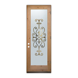 Sans Soucie Art Glass (door frame material T.M. Cobb) - Glass Front Entry Door Sans Soucie Art Glass Cordoba - Sans Soucie Art Glass Front Door with Sandblast Etched Glass Design. Get the privacy you need without blocking light, thru beautiful works of etched glass art by Sans Soucie!  This glass is semi-private.  (Photo is view from outside the home or building.)  Door material will be unfinished, ready for paint or stain.  Bronze Sill, Sweep.  Satin Nickel Hinges. Available in other finishes, sizes, swing directions and door materials.  Dual Pane Tempered Safety Glass.  Cleaning is the same as regular clear glass. Use glass cleaner and a soft cloth.