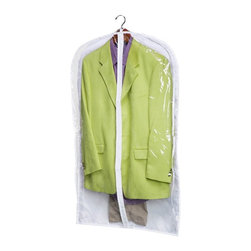 Honey Can Do - Honey Can Do Polyester Suit Bag - 2 Pack Multicolor - SFTZ01243 - Shop for Closet from Hayneedle.com! Don't let dust get your duds down. Store coats and jackets in the Honey Can Do Polyester Suit Bag - 2 Pack. Crafted with durable white polyester fabric each of the two garment bags in this set boasts a clear front so you can easily see what's inside. A smooth zipper offers easy access and an upper opening makes way for hangers. Sized for most coats and suits.About Honey-Can-DoHeadquartered in Chicago Honey-Can-Do is dedicated to helping you organize your life. They understand that you need storage solutions that are stylish and affordable at the same time. Honey-Can-Do focuses on current design trends and colors to create products that fit your decor tastes while simultaneously concentrating on exceptional quality. When buying a Honey-Can-Do product you can be sure you are purchasing a piece that has met safety control standards and social compliance methods.